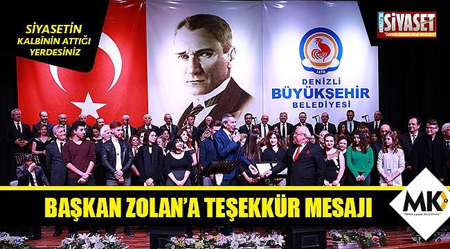 Başkan Zolan'a teşekkür mesajı