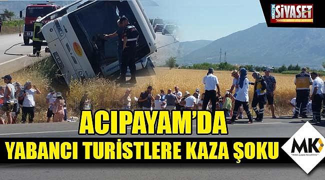 Acıpayam'da yabancı turistlere kaza şoku