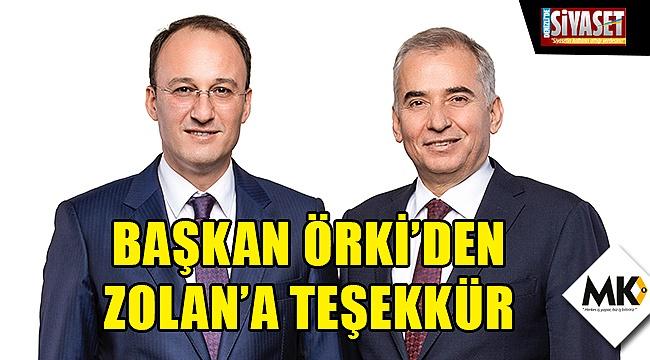 Başkan Örki'den Zolan'a teşekkür
